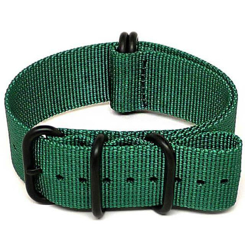 Ballistic Nylon Military Watch Strap - Green (PVD Buckle)