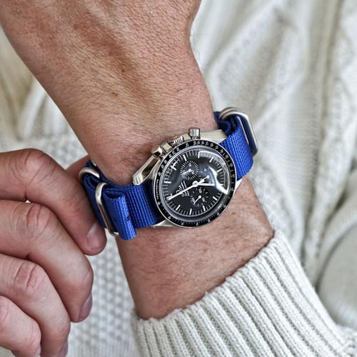 Ballistic Nylon Military Watch Strap - Blue (Matte Buckle)