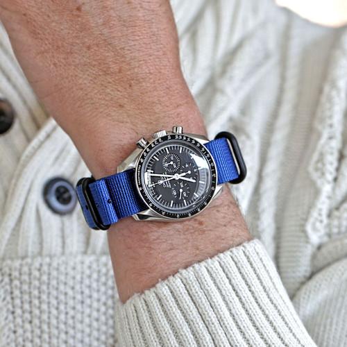 Ballistic Nylon Military Watch Strap - Blue (PVD Buckle)