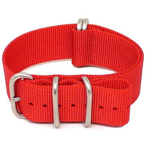 Ballistic Nylon Military Watch Strap - Red (Matte Buckle)