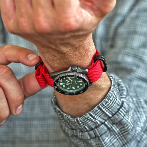Ballistic Nylon Military Watch Strap - Red (PVD Buckle)