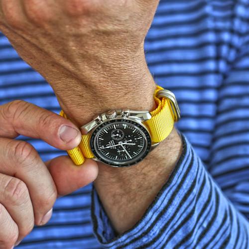 Ballistic Nylon Military Watch Strap - Yellow (Matte Buckle)