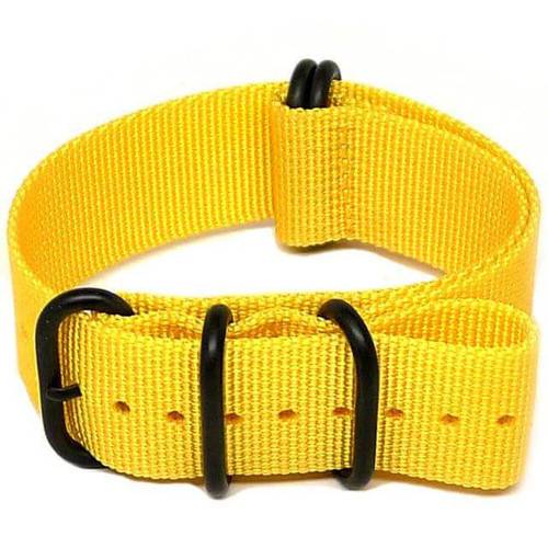 Ballistic Nylon Military Watch Strap - Yellow (PVD Buckle)