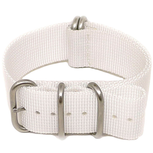 Ballistic Nylon Military Watch Strap - White (Matte Buckle)