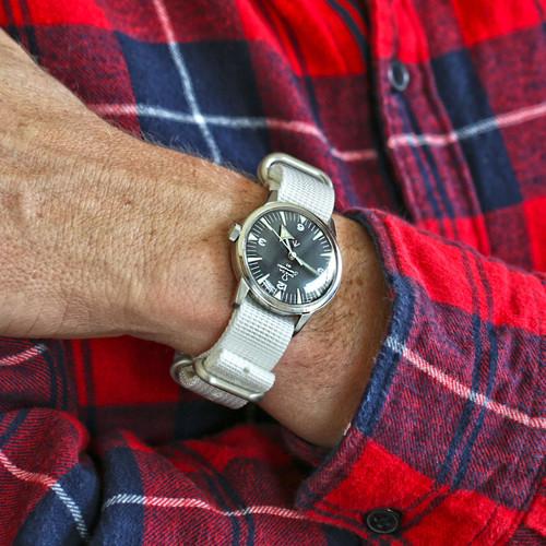 Ballistic Nylon Military Watch Strap - White (Matte Buckle)