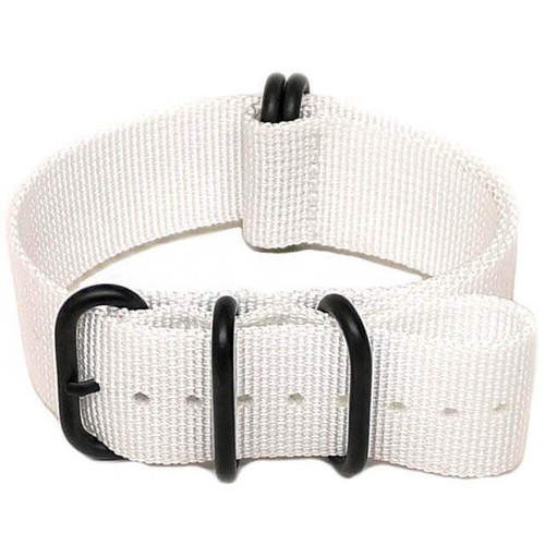 Ballistic Nylon Military Watch Strap - White (PVD Buckle)