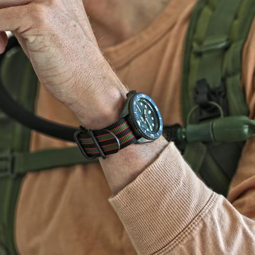 Ballistic Nylon Military 1 Piece Watch Strap - Goldfinger (PVD Buckle)