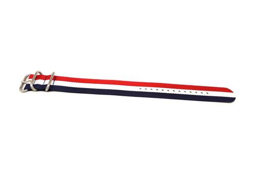 Ballistic Nylon Military 1 Piece Watch Strap - Red-White-Blue (Matte Buckle)