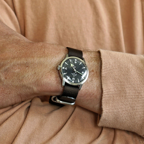 Ballistic Nylon Military 1 Piece Watch Strap - Brown (Matte Buckle)