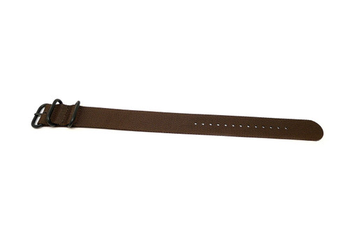Ballistic Nylon Military 1 Piece Watch Strap - Brown (PVD Buckle)