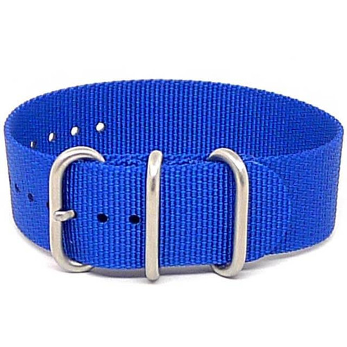 Ballistic Nylon Military 1 Piece Watch Strap - Blue (Matte Buckle)