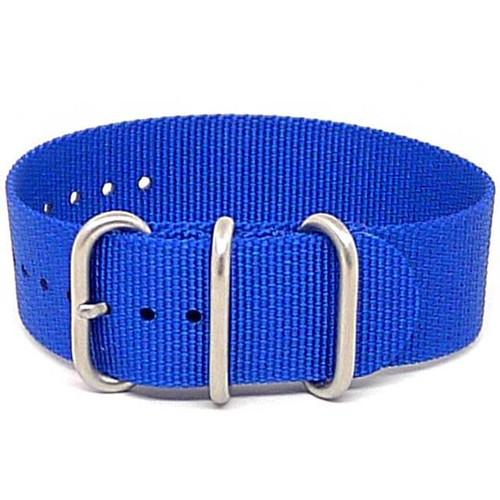 Ballistic Nylon Military 1 Piece Watch Strap - Blue (Matte Buckle)