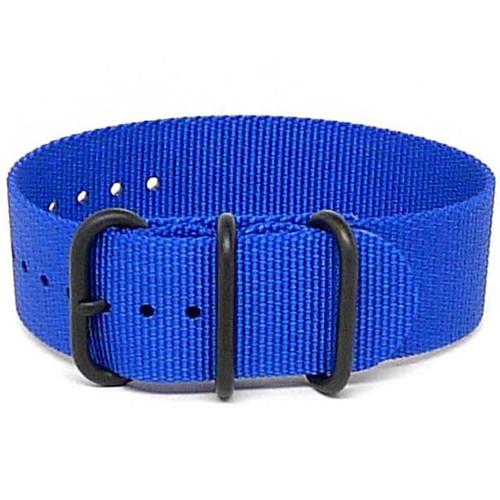 Ballistic Nylon Military 1 Piece Watch Strap - Blue (PVD Buckle)
