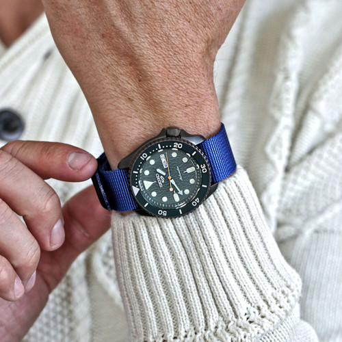 Ballistic Nylon Military 1 Piece Watch Strap - Blue (PVD Buckle)