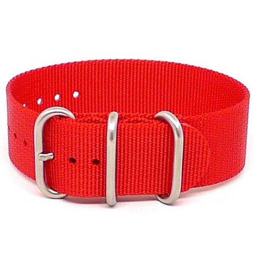 Ballistic Nylon Military 1 Piece Watch Strap - Red (Matte Buckle)