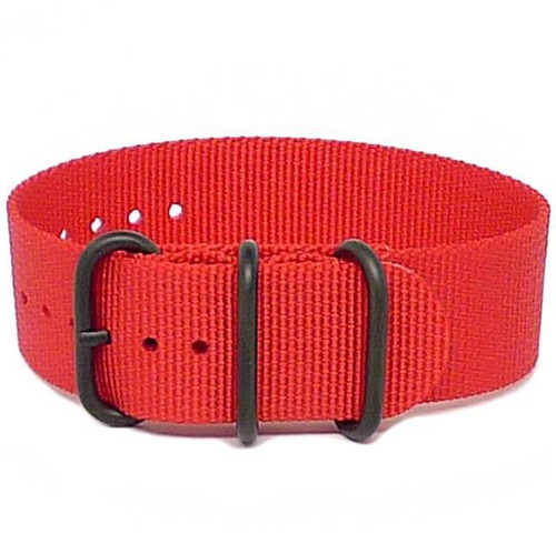 Ballistic Nylon Military 1 Piece Watch Strap - Red (PVD Buckle)