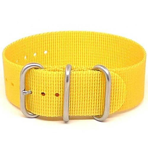 Ballistic Nylon Military 1 Piece Watch Strap - Yellow (Matte Buckle)