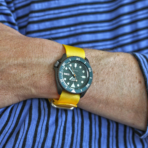 Ballistic Nylon Military 1 Piece Watch Strap - Yellow (Matte Buckle)