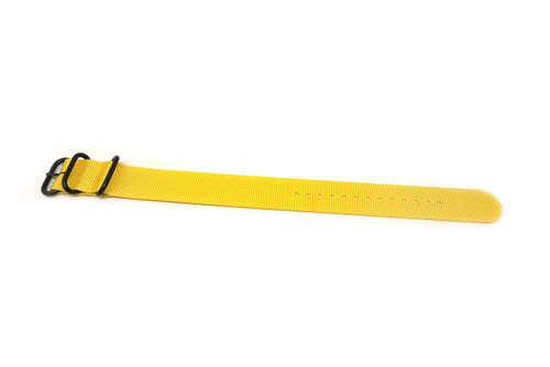 Ballistic Nylon Military 1 Piece Watch Strap - Yellow (PVD Buckle)