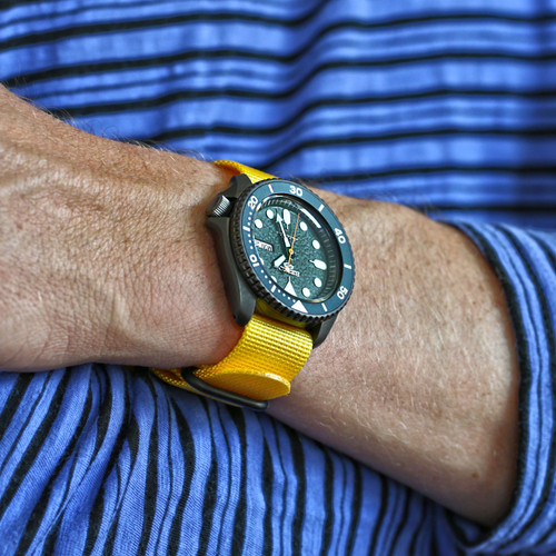 Ballistic Nylon Military 1 Piece Watch Strap - Yellow (PVD Buckle)