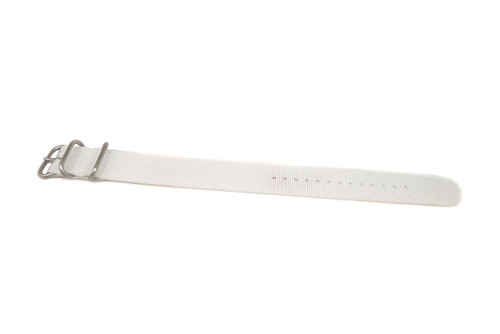 Ballistic Nylon Military 1 Piece Watch Strap - White (Matte Buckle)
