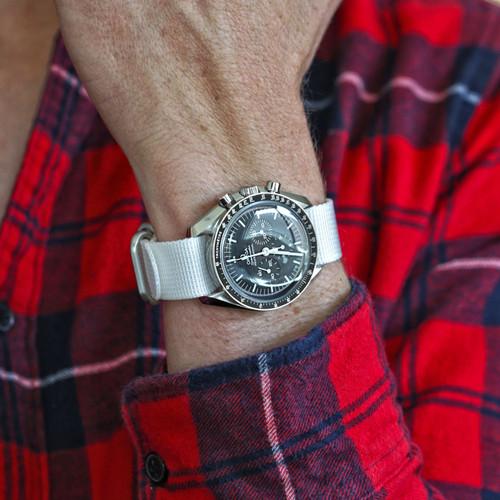 Ballistic Nylon Military 1 Piece Watch Strap - White (Matte Buckle)
