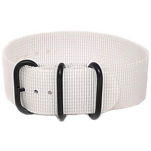 Ballistic Nylon Military 1 Piece Watch Strap - White (PVD Buckle)