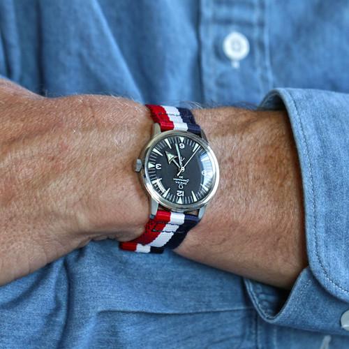 Two Piece Ballistic Nylon Watch Strap - Red-White-Blue