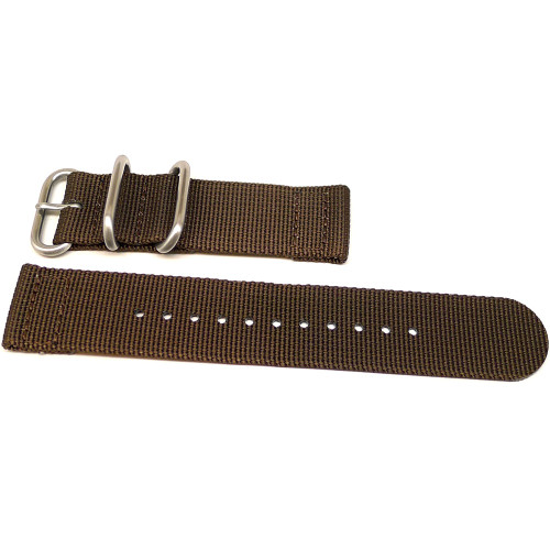 Two Piece Ballistic Nylon Watch Strap - Brown