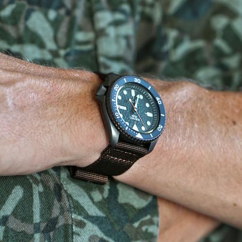 Two Piece Ballistic Nylon Watch Strap - Brown (PVD)