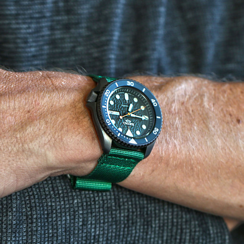 Two Piece Ballistic Nylon Watch Strap - Green