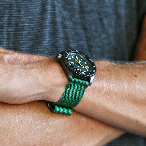 Two Piece Ballistic Nylon Watch Strap - Green (PVD)