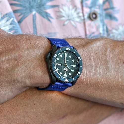 Two Piece Ballistic Nylon Watch Strap - Blue (PVD)