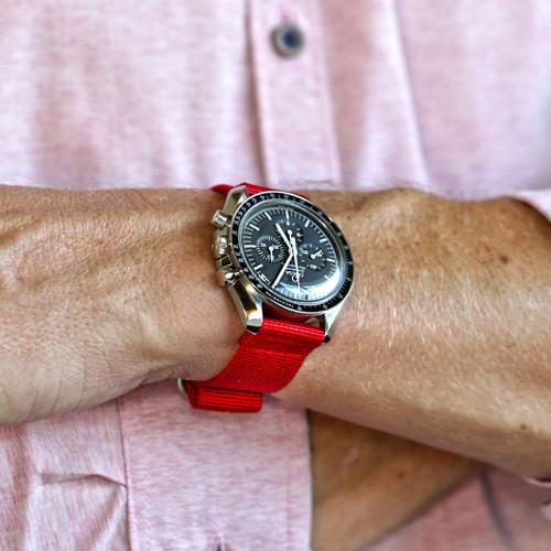 Two Piece Ballistic Nylon Watch Strap - Red