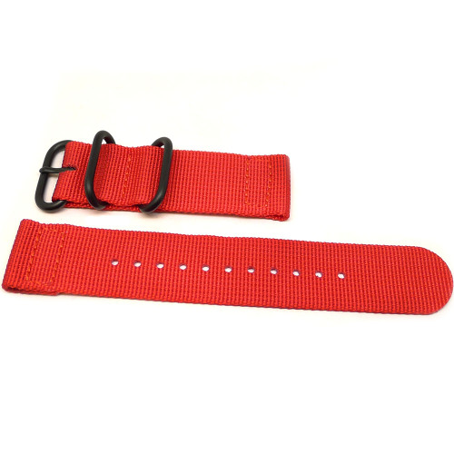 Two Piece Ballistic Nylon Watch Strap - Red (PVD)