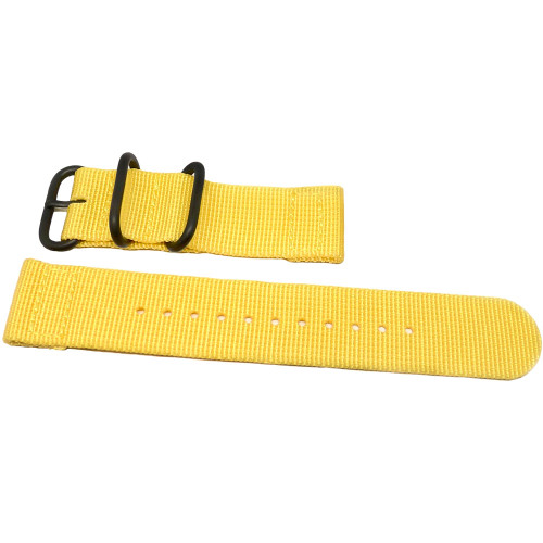 Two Piece Ballistic Nylon Watch Strap - Yellow (PVD)