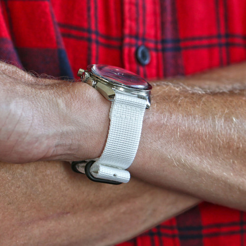 Two Piece Ballistic Nylon Watch Strap - White (PVD)