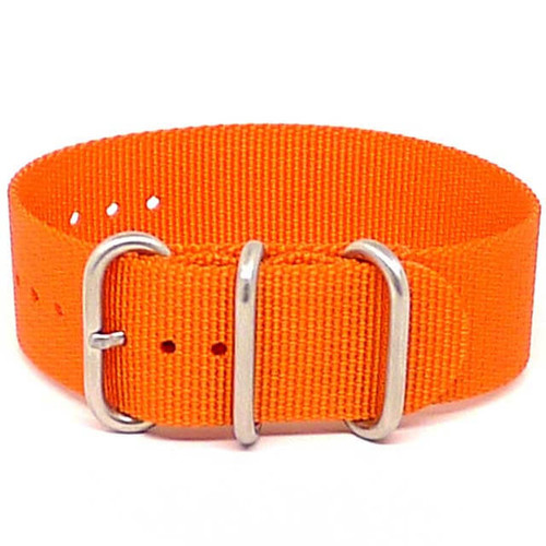 Ballistic Nylon Military 1 Piece Watch Strap - Orange (Matte Buckle)