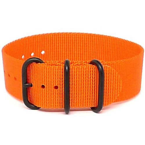 Ballistic Nylon Military 1 Piece Watch Strap - Orange (PVD Buckle)