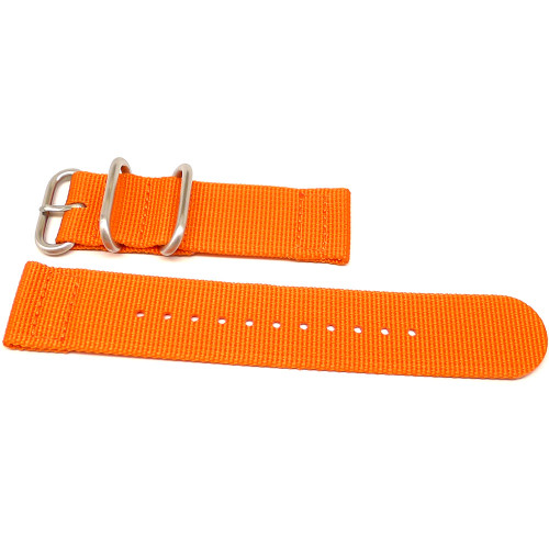 Two Piece Ballistic Nylon Watch Strap - Orange