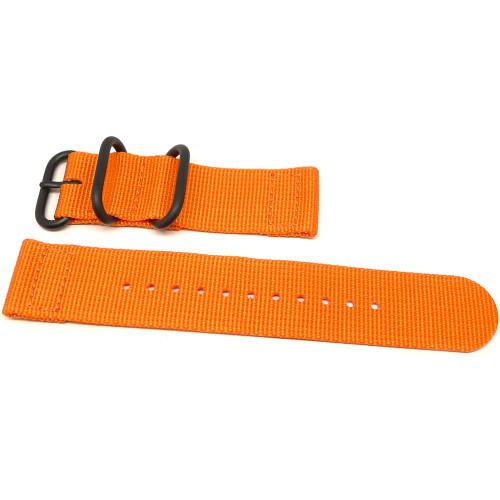 Two Piece Ballistic Nylon Watch Strap - Orange (PVD)