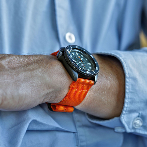 Two Piece Ballistic Nylon Watch Strap - Orange (PVD)
