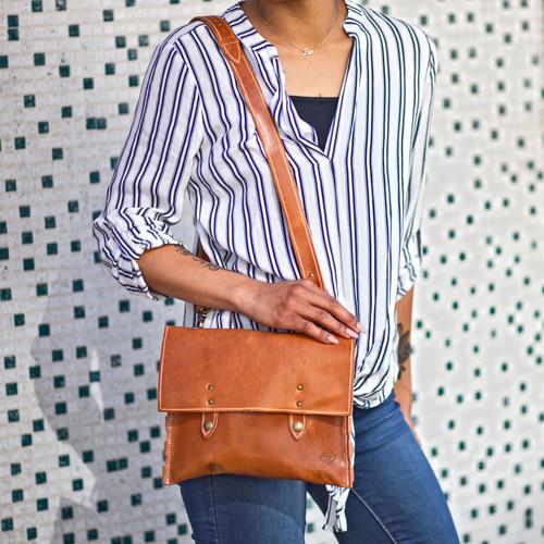Leather Handbag - Natural Dublin