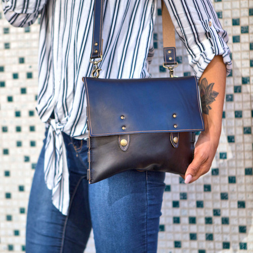 Leather Handbag - Black Chromexcel