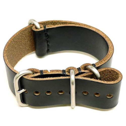Military Leather Watch Strap - Black Chromexcel (Matte Buckle)