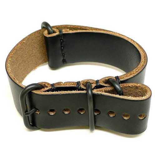 Military Leather Watch Strap - Black Chromexcel (PVD Buckle)