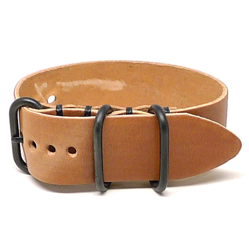 Shell Cordovan 1 Piece Military Leather Watch Strap - Natural (PVD Buckle)