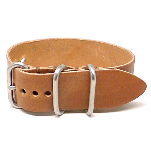 Shell Cordovan 1 Piece Military Leather Watch Strap - Natural (Matte Buckle)