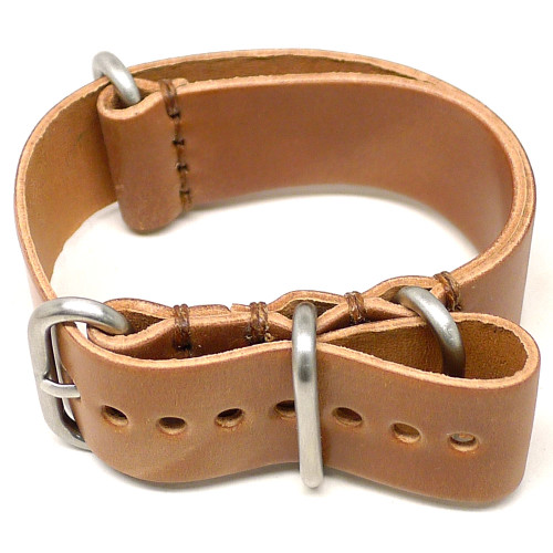 Shell Cordovan Military Leather Watch Strap - Natural (Matte Buckle)