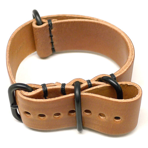 Shell Cordovan Military Leather Watch Strap - Natural (PVD Buckle)